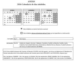 Calendario dias inhabiles 2016